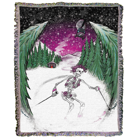 Grateful Dead Skiing Bertha Woven Cotton Blanket