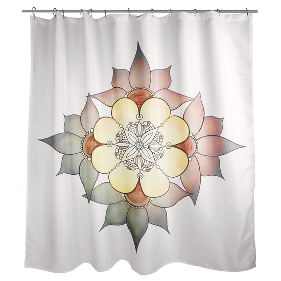 A White Shower Curtain With Mandala Inspired Flower Design Four Large Flowers