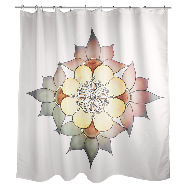 A white shower curtain with a mandala-inspired flower design, with four large flowers around the outside. The center flowers are shades of white, yellow and light brown. The top and right outside flowers are shades of light pink fading to grey, and the left and bottom flowers are shades of grey fading into green.