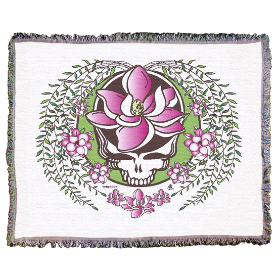 Grateful Dead White Sugar Magnolia Stealie Woven Cotton Blanket