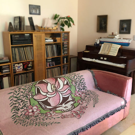 Grateful Dead Pink Sugar Magnolia Stealie Woven Cotton Blanket