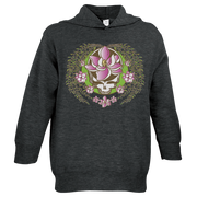 A white and green Stealie with a pink sugar magnolia flower in the center and sugar magnolia branches and flowers flowing down the sides to three central flowers at the bottom, on a dark grey toddler hoodie.