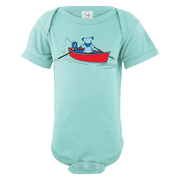 A Grateful Dead bear rowing a dinghy, while a Terrapin turtle fishes off the back, on a light blue infant one piece.