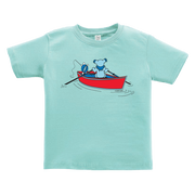A Grateful Dead bear rowing a dinghy, while a Terrapin turtle fishes off the back, on a light blue toddler tshirt.
