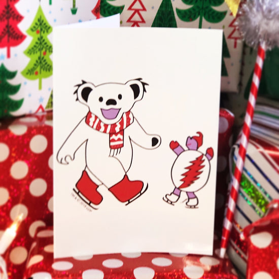 Grateful Dead Ice Skating Bear & Terrapin Greeting Card