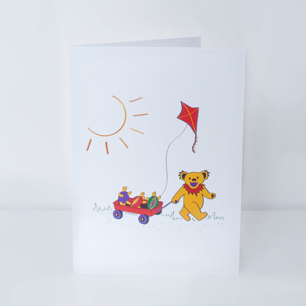 Grateful Dead Terrapin & Bear Red Wagon Greeting Card