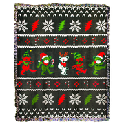 Grateful Dead Jingle Bears Ugly Christmas Sweater Woven Cotton Blanket