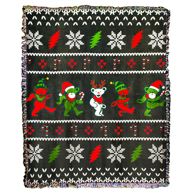 PRE-ORDER Grateful Dead Jingle Bears Ugly Christmas Sweater Woven Cotton Blanket