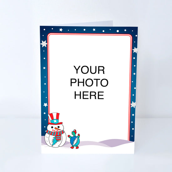 Uncle Sam Snowman Customized Photo Frame Holiday Card