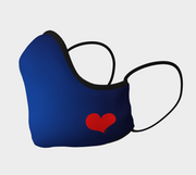 Blue Shaped Face Mask with Red Heart