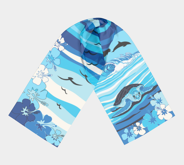 Hawaii Sea Turtle Blue Scarf