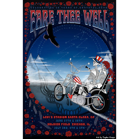 Grateful Dead Sam & Bertha Fare Thee Well Lithographic Show Poster
