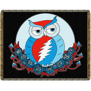 Black Grateful Dead Owl Woven Cotton Blanket PRE ORDER Delivery late April