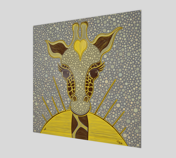 Yellow Love Giraffe Glossy Wall Poster