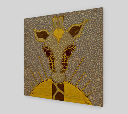 Yellow Love Giraffe Wood Print