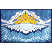 Psychedelic Sun Wave Printed Cotton Tapestry