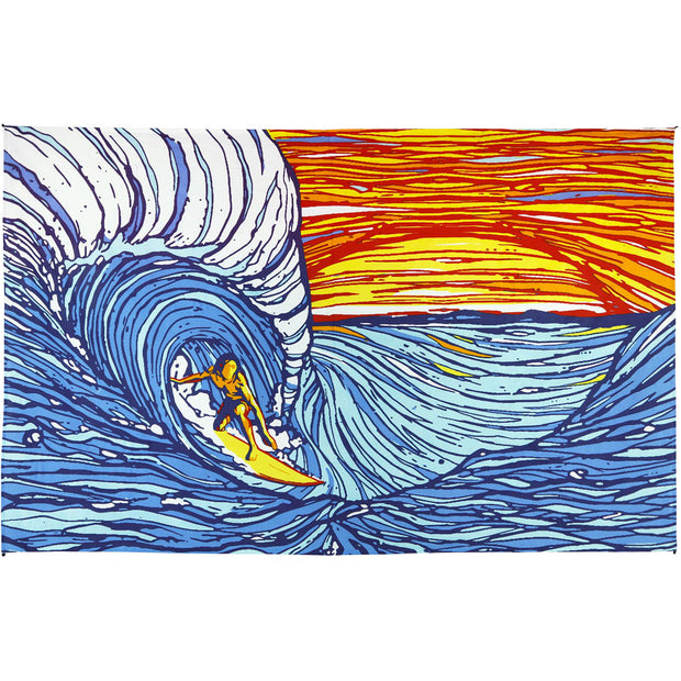 Sunset Surfer Printed Cotton Tapestry