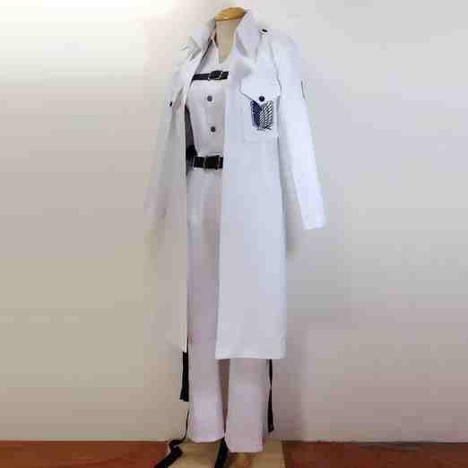 Inspired by Attack on Titan Shingeki no Kyojin Hanji Zoe All White Cosplay Costume HQ
