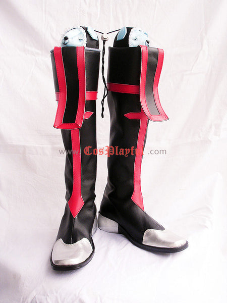 Inspired by BlazBlue Jin Kisaragi Cosplay Boots Red and Black Version