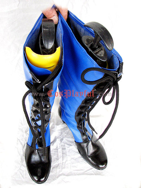 Inspired by Black Butler Ciel Cosplay Boots Blue and Black