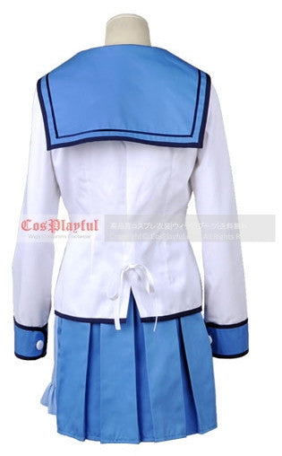 Inspired by Yuri Nakamura from Angel Beats Cosplay Costume School Uniform