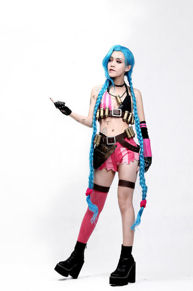 Inspired by Jinx from League of Legends Cosplay Costume