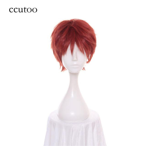 ccutoo 30cm Fate/Stay Night Emiya Shirou Short Fluffy Layered Red Orange Cosplay Wig Synthetic Hair Heat Resistance fiber