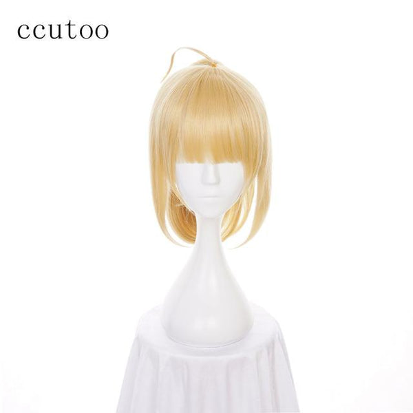 ccutoo 35cm Fate stay night saber lily Cosplay Full Wig Golden Synthetic Hair Wigs With Ponytail