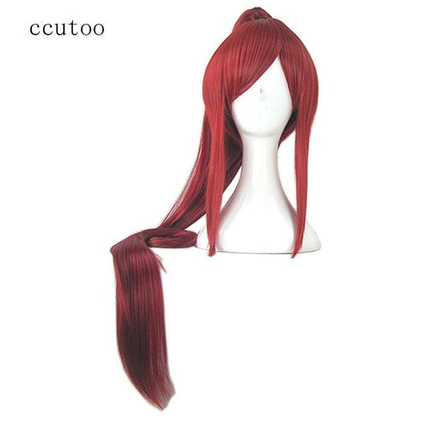 ccutoo Puella Magi Madoka Magica.Sakura Kyouko Red Synthetic Hair Cosplay Wig With One Long Chip Removable Ponytail