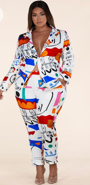 White Abstract Plus Pants Suit