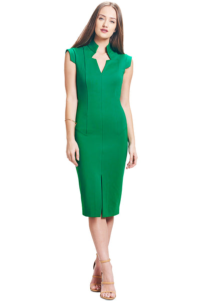 Model wearing solid emerald green knit Ponte sleeveless notched v- neck midi dress.