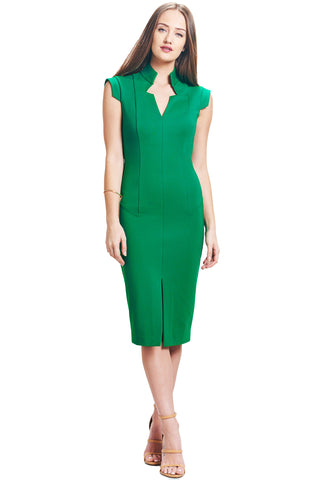 Adeline Sheath -  Notch neck sheath with high collar, front slit and seam detail (emerald green)