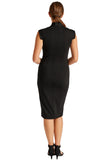 Back view of model wearing solid black knit Ponte sleeveless midi dress
