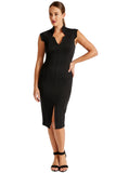 Model wearing black sleeveless notched v-neck midi knit Ponte dress.