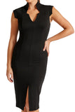 Model wearing solid black knit Ponte sleeveless notched v- neck midi dress.
