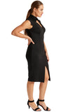 Side view of model wearing solid black knit Ponte sleeveless notched v-neck midi dress