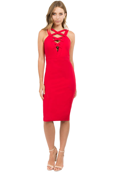Model wearing body con red stretch midi Ponte dress, with low v-neck & criss cross bands in front top.