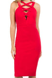 Model wearing body con red stretch midi Ponte dress, with low neckline & criss cross bands in front top.