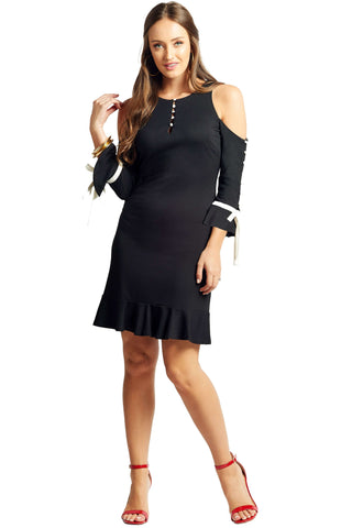 Carina Dress - Cold shoulder dress with contrast covered buttons and bow ties