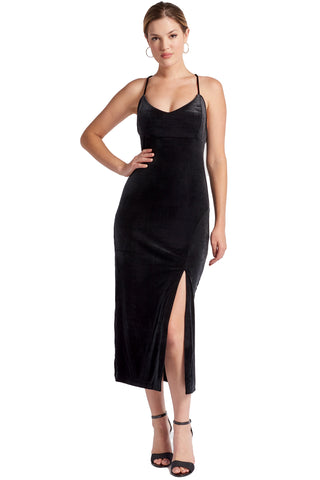 Elle Dress - Velvet slip dress with scooped back and thigh high slit (black)