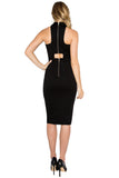 Back view of model wearing sleeveless black knit Ponte midi dress with back cut-out and double exposed gold zipper.