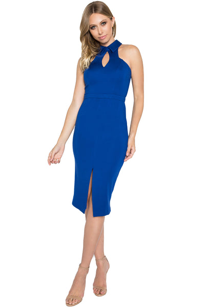 Model wearing blue sleeveless knit Ponte midi dress with collar, front keyhole and front skirt slit.