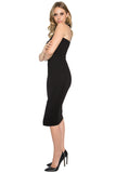 Side view of model wearing sleeveless black knit Ponte knit dress.