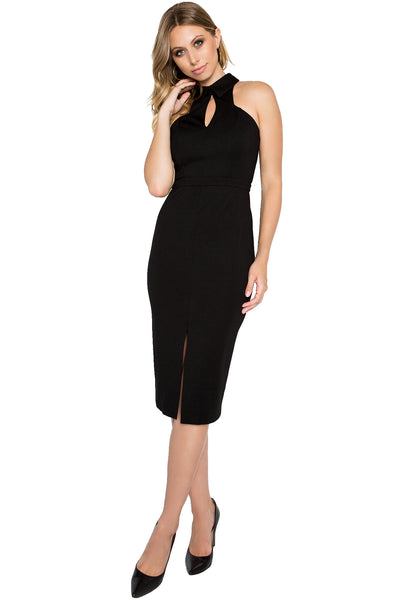 Model wearing black sleeveless knit Ponte midi dress with collar, front keyhole and front skirt slit.