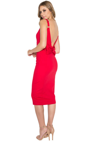 Homa Dress - Bow back midi sheath dress