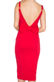 Model wearing ladies midi knit Ponte red sleeveless dress with adjustable straps, sweet heart neckline, low back, and large bow at back waist.