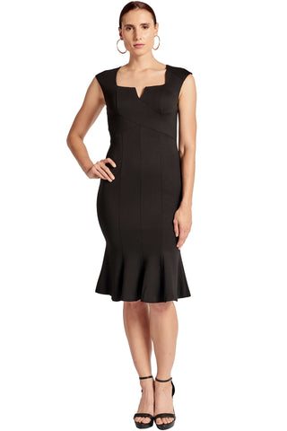 Model wearing form-fitting seamed sleeveless square notch neck midi dress with mermaid hem
