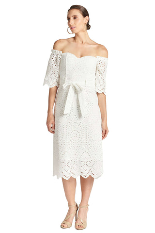 Jasmine Dress - Off the shoulder a-line midi eyelet dress