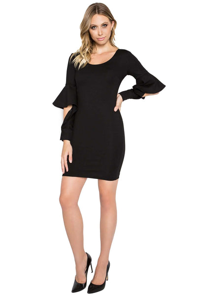Model wearing body con little black dress in knit Ponte with novelty cuffed bell sleeves, and u-neckline.