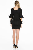 Back view of model wearing body con little black dress in knit Ponte with novelty cuffed bell sleeves and u neckline..